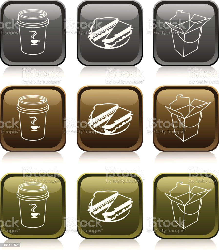'Medals Series' Food Icon Set royalty-free stock vector art