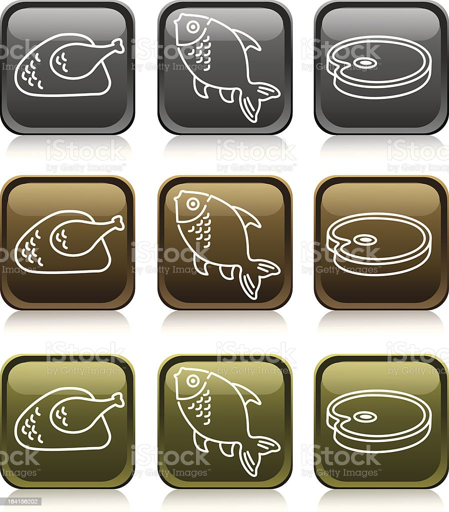 'Medals Series' Meats Icon Set royalty-free stock vector art