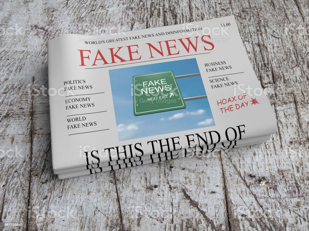 US Media Concept: Pile of Newspapers Fake News On Scratched Old Wood, 3d illustration stock photo