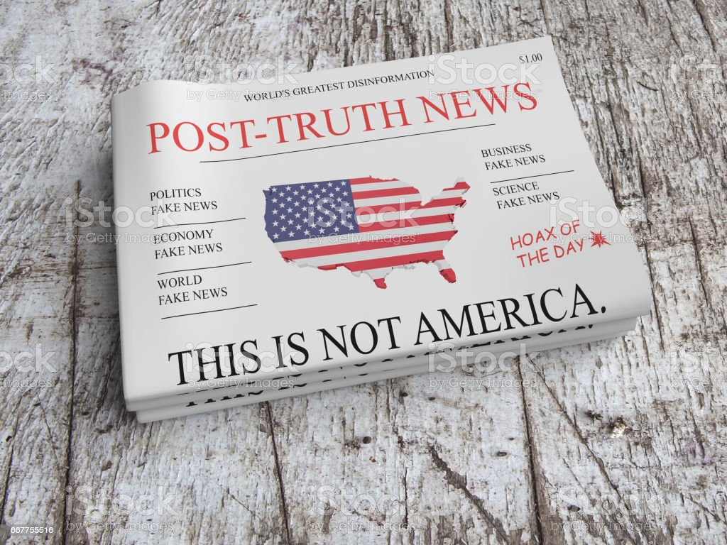US Media Concept: Pile of Newspapers Post-Truth News On Scratched Old Wood, 3d illustration stock photo