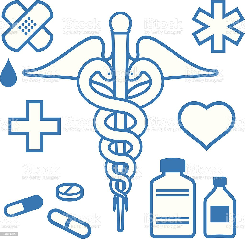 Medical and pharmaceutical items vector art illustration