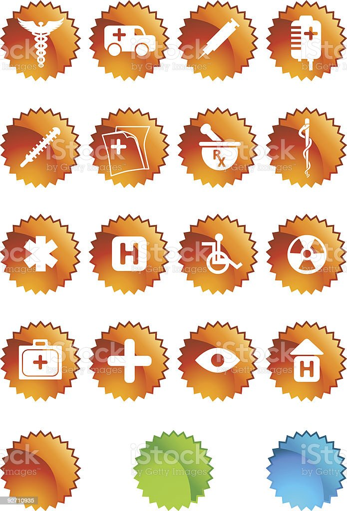 Medical Plus Icons: Star Shape Set royalty-free stock vector art
