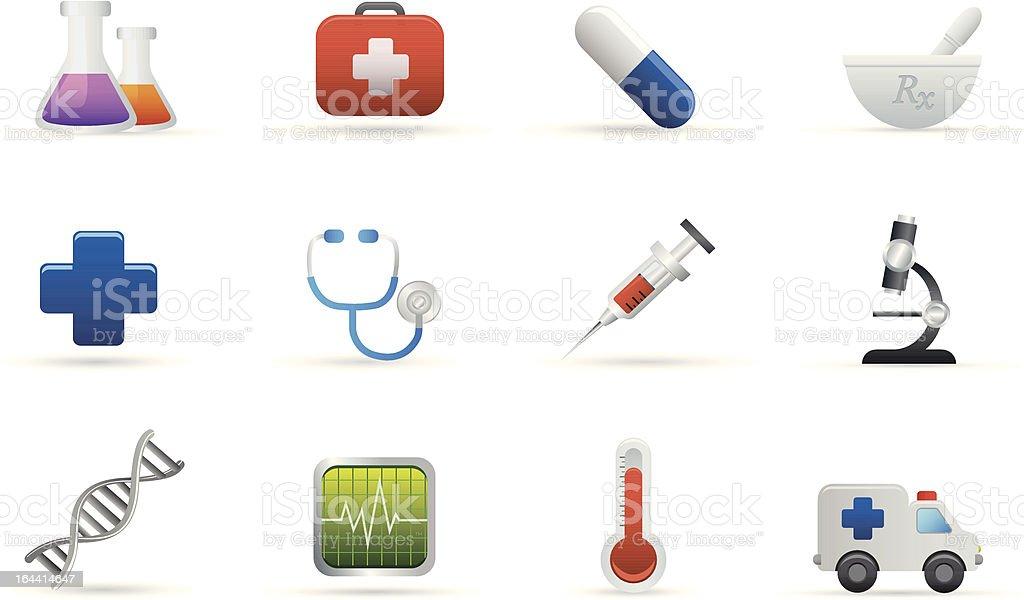 Ikony medycyny i opieki zdrowotnej stockowa ilustracja wektorowa royalty-free