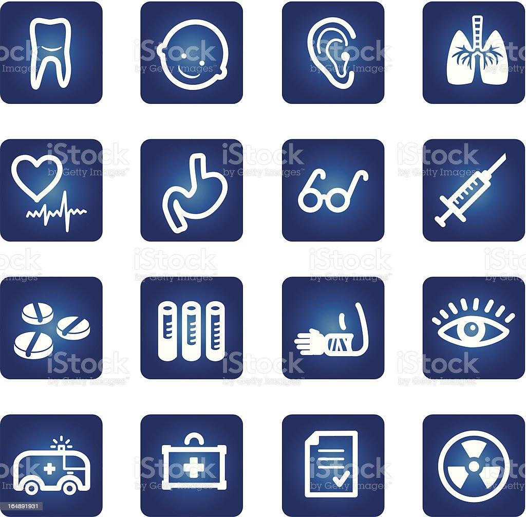 medicine and health icons set vector art illustration