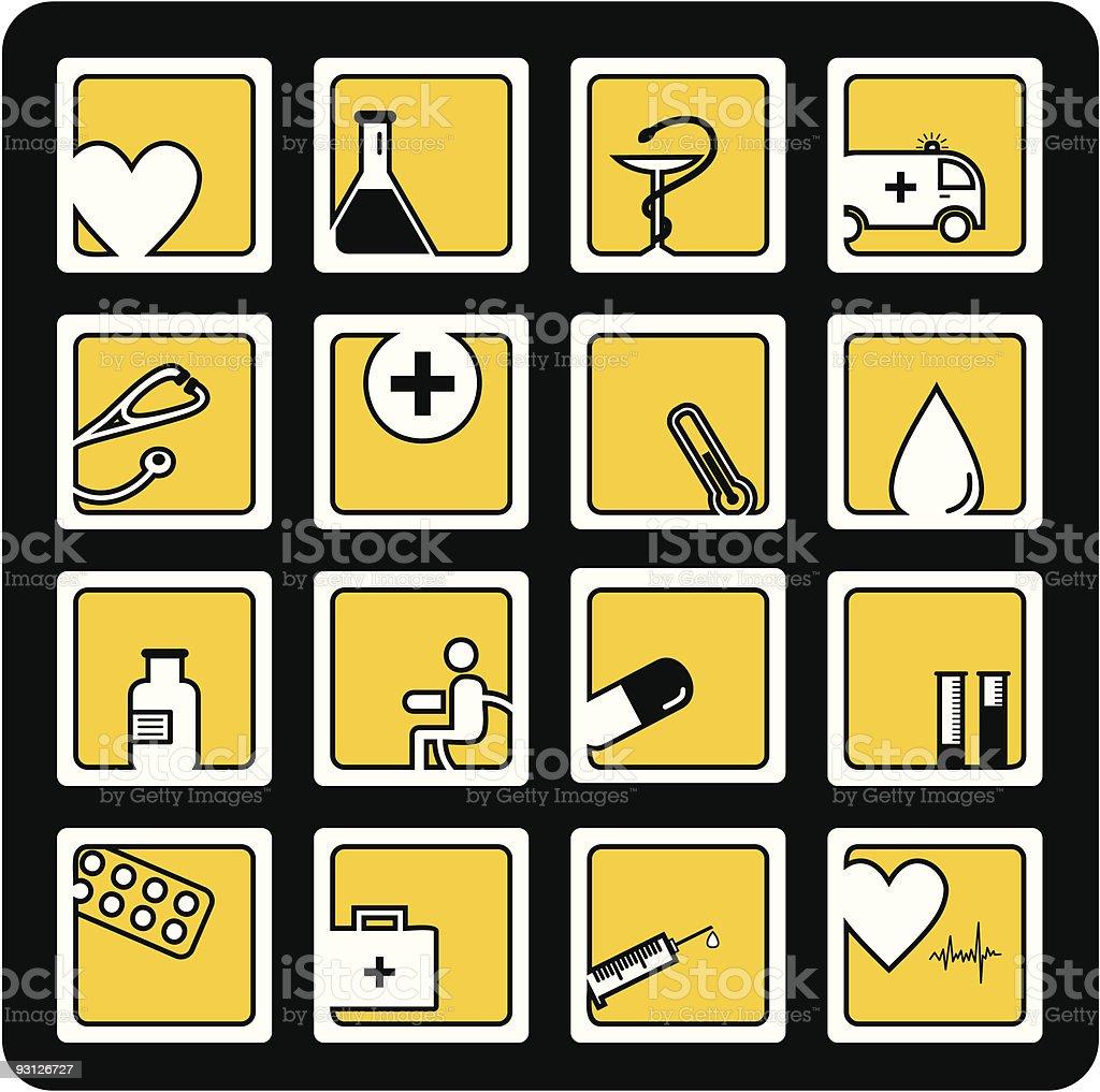 Medicine icons set vector art illustration