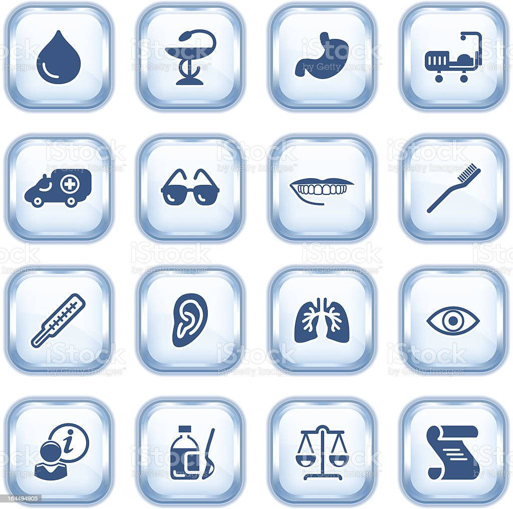 Medicine web icons on glossy buttons. royalty-free stock vector art