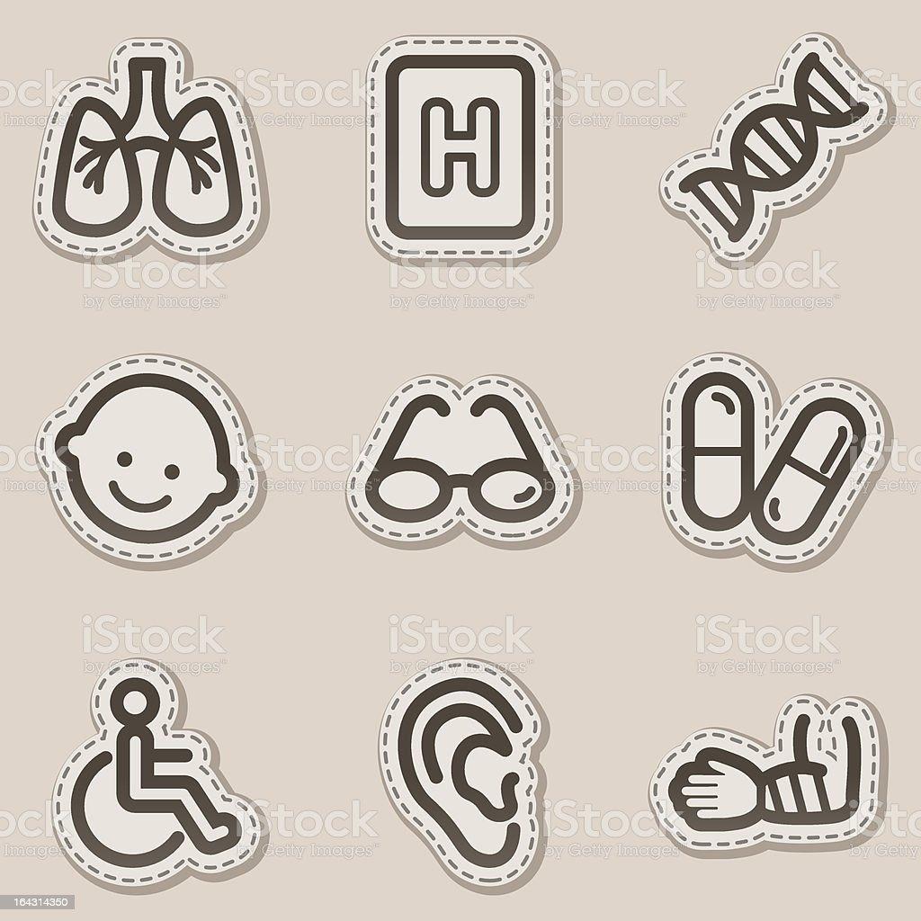 Medicine web icons set 2, brown sticker series royalty-free stock vector art