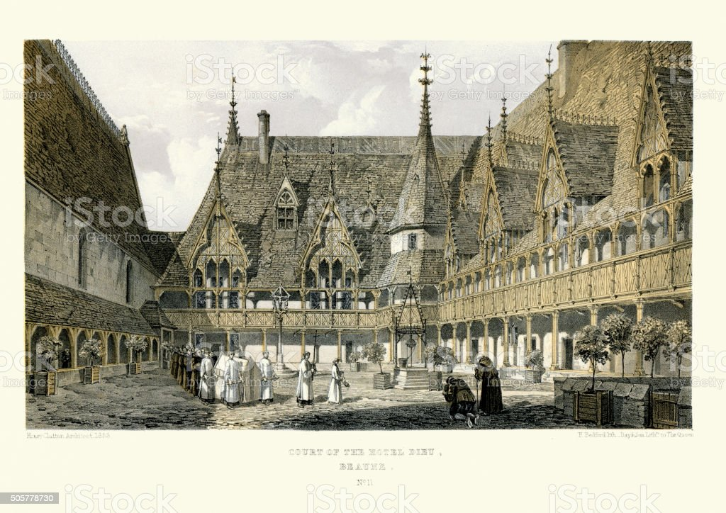 Medieval Architecture - Court of the Hospices de Beaune vector art illustration