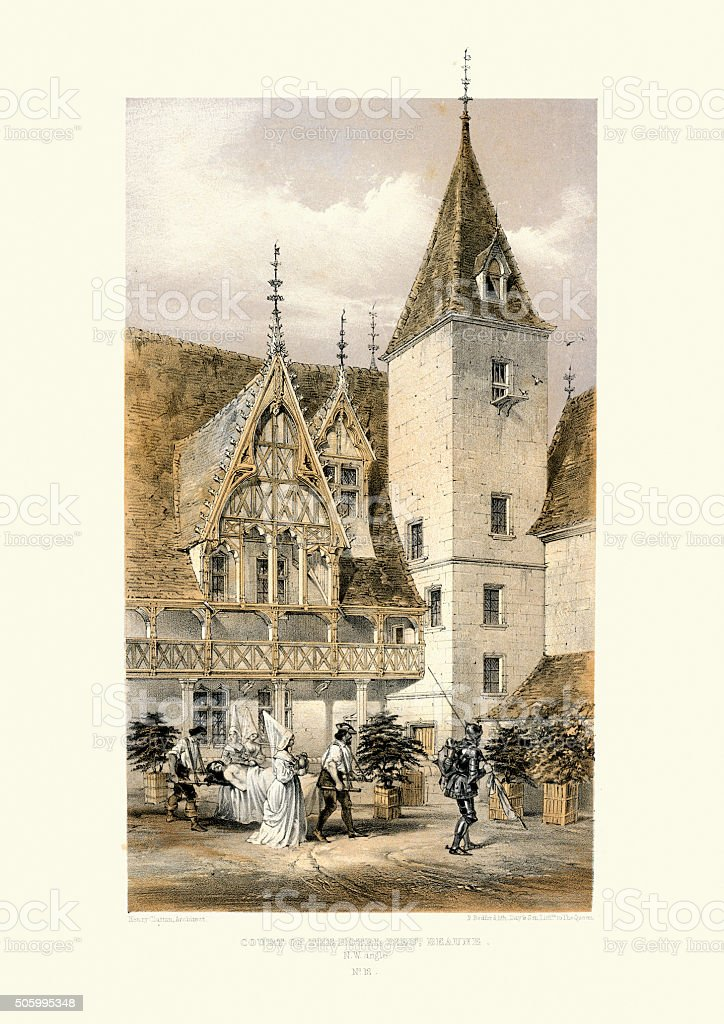 Medieval Architecture - Court of the Hotel Dieu, Beaune vector art illustration
