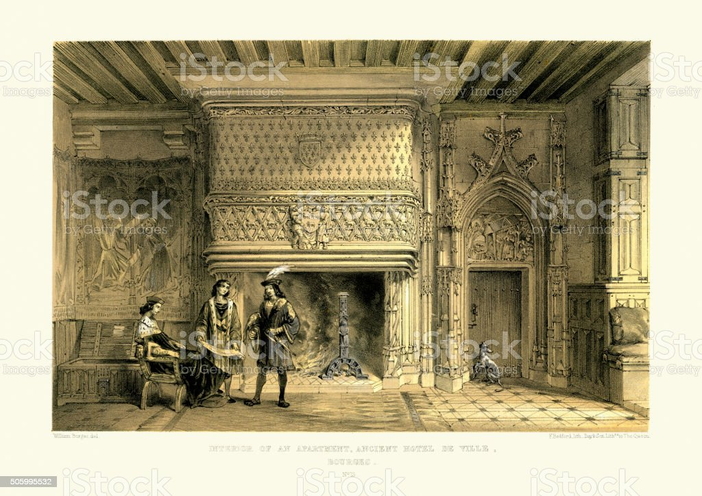 Medieval Architecture - Interior of an apartment vector art illustration