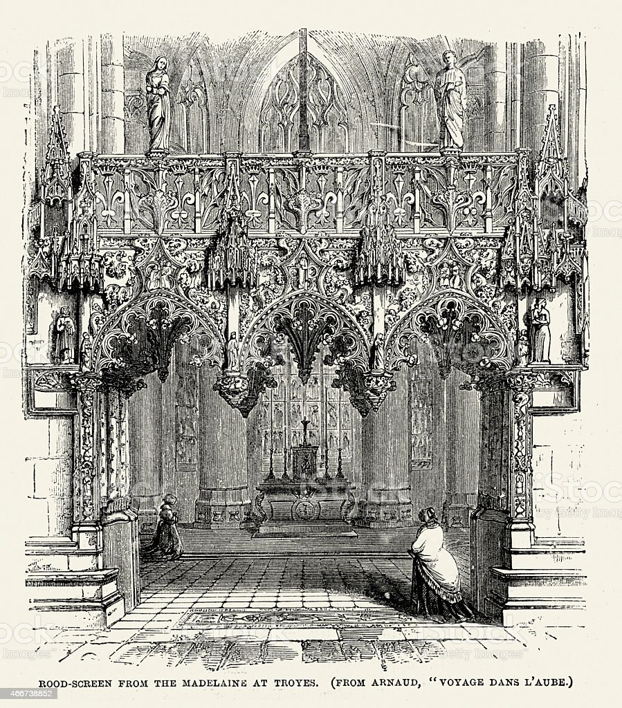 Medieval Architecture - Rood Screen from the Madelaine at Troyes vector art illustration