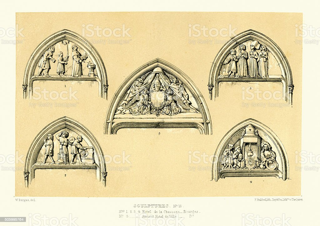 Medieval Architecture - Sculptures from Bourges, France vector art illustration