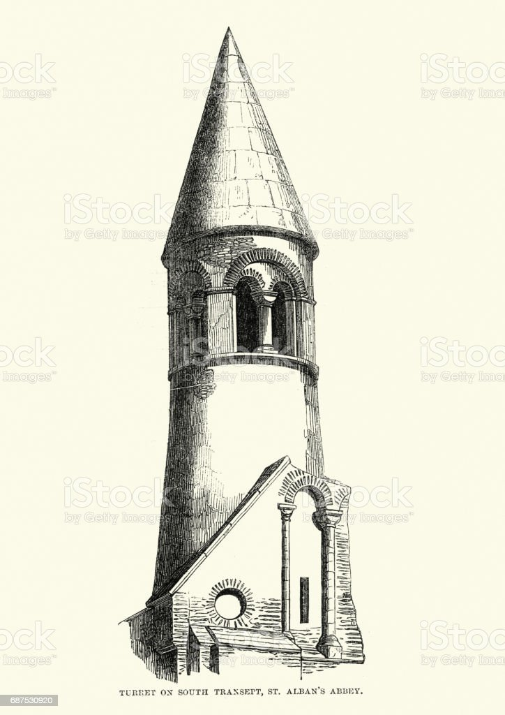 Medieval Architecture - Turret on St Albans Cathedral vector art illustration