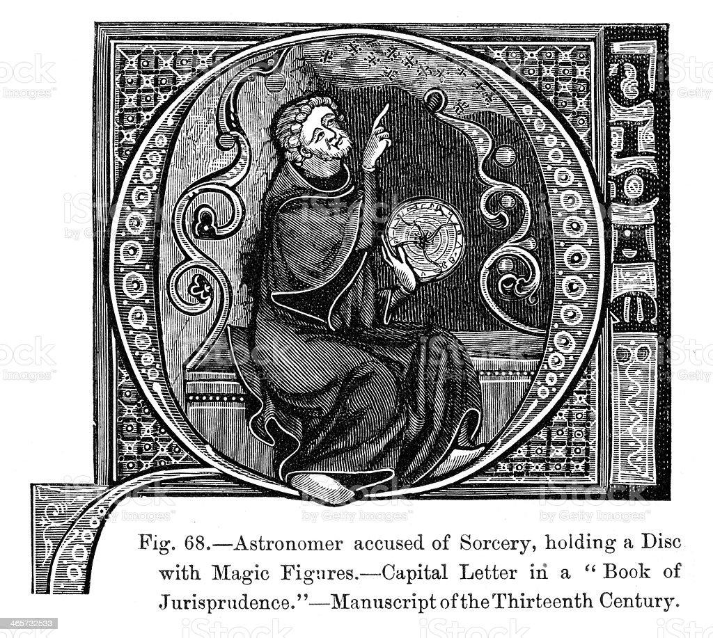 Medieval Astronomer vector art illustration