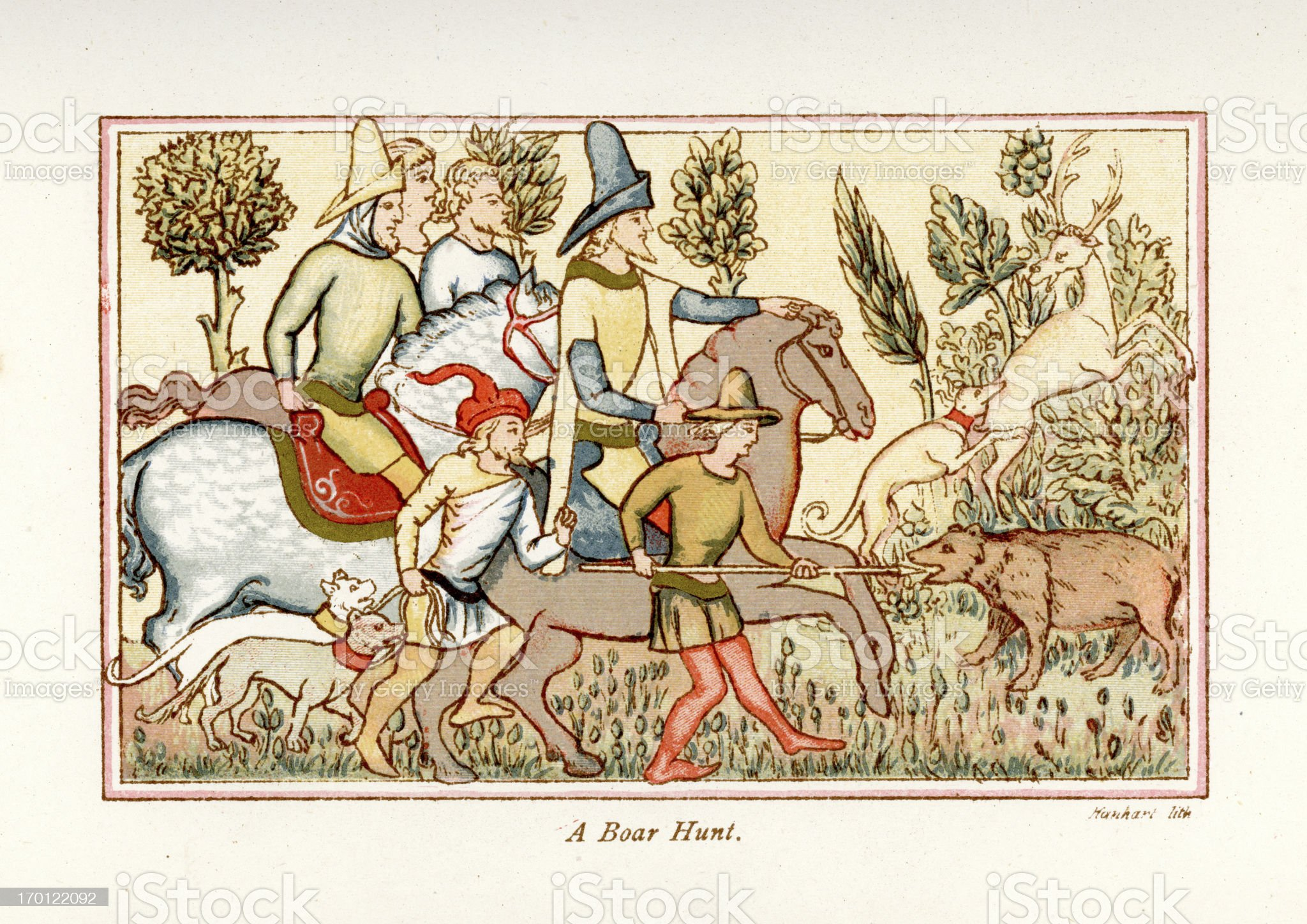 Medieval Boar Hunt royalty-free stock vector art