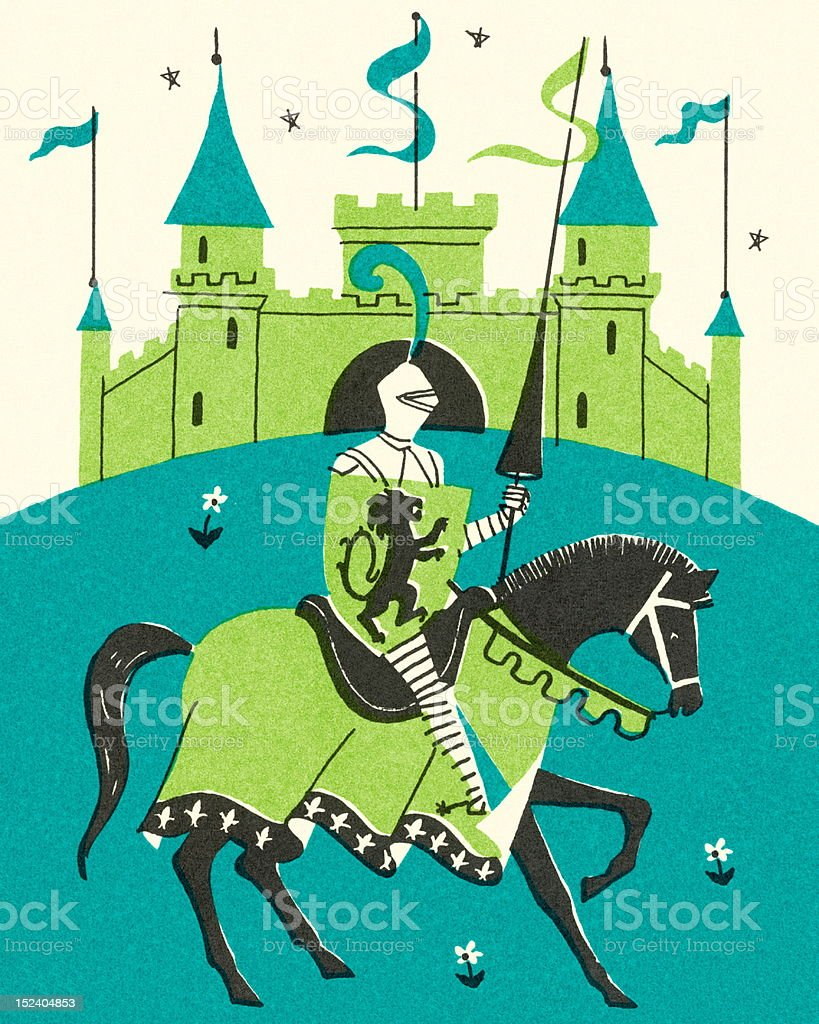 Medieval Castle and Knight vector art illustration