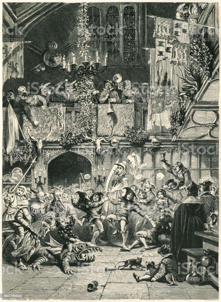 Medieval Christmas festivities vector art illustration
