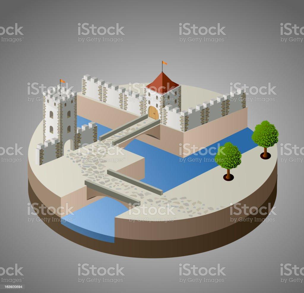 Medieval city vector art illustration