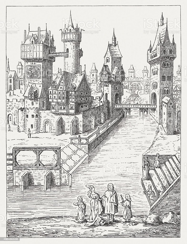 Medieval Cityscape in Europe, published in 1881 vector art illustration