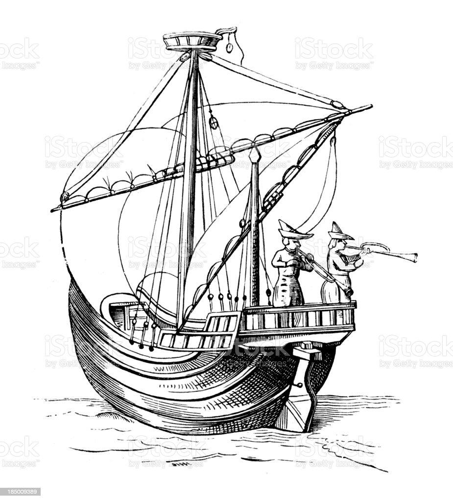 Medieval Cog royalty-free stock vector art
