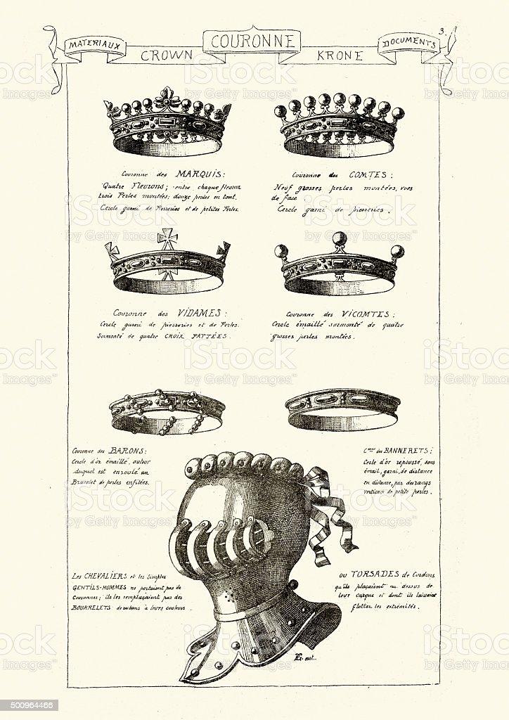 Medieval Crowns and Knights Helmet vector art illustration