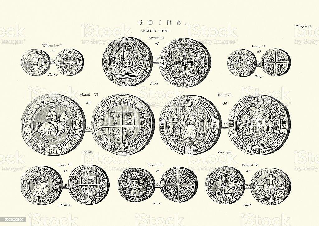 Medieval English Coins vector art illustration