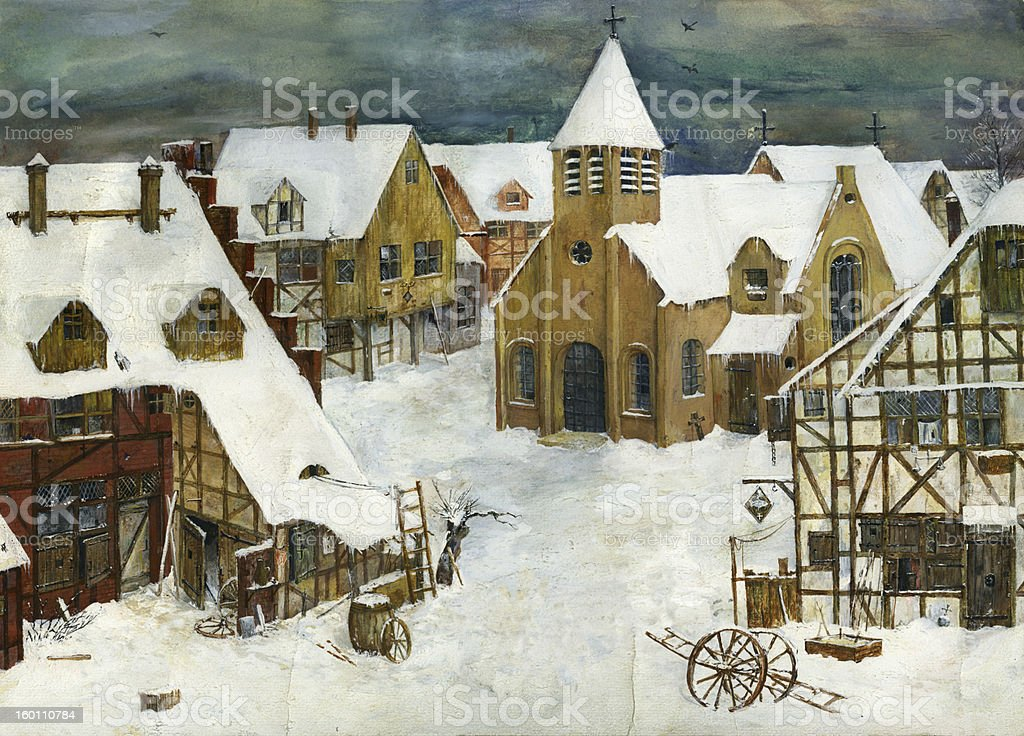 Medieval European city in winter time. royalty-free stock vector art