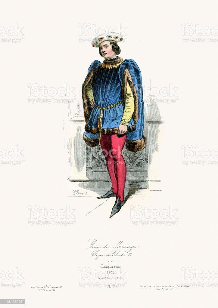 Medieval Fashion Jean de Montaigu vector art illustration