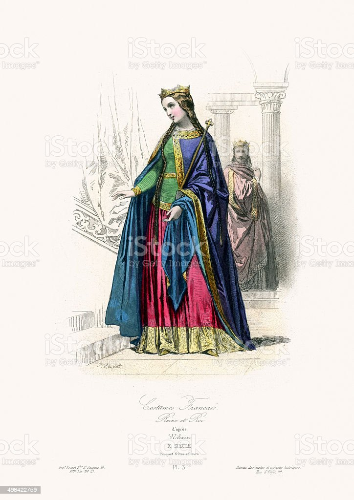Medieval Fashion Queen of France royalty-free stock vector art