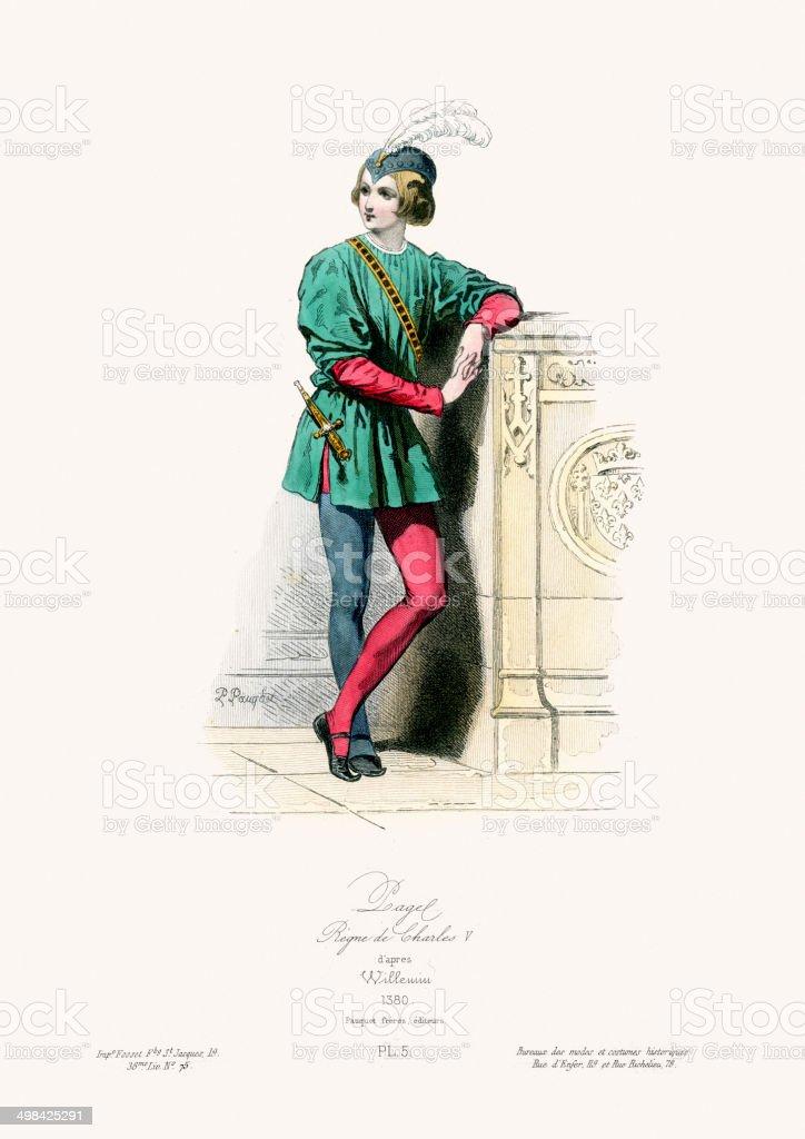 Medieval Fashion Reign of Charles V vector art illustration