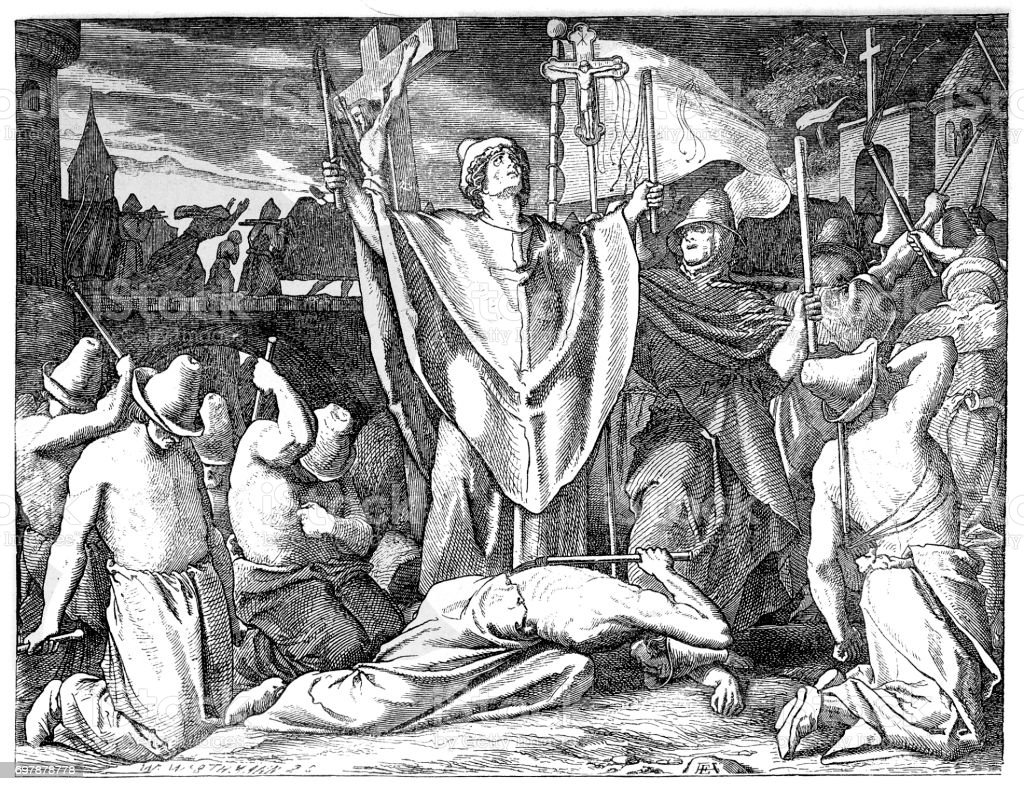 Medieval flagellants praying for protection against the plague vector art illustration