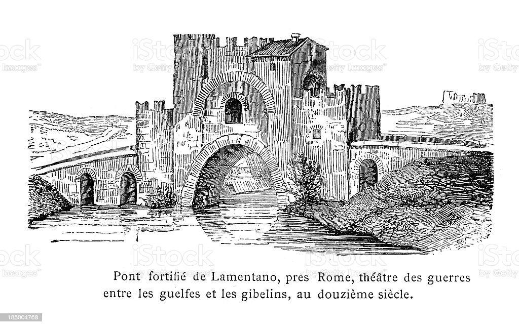 Medieval Fortified Bridge royalty-free stock vector art