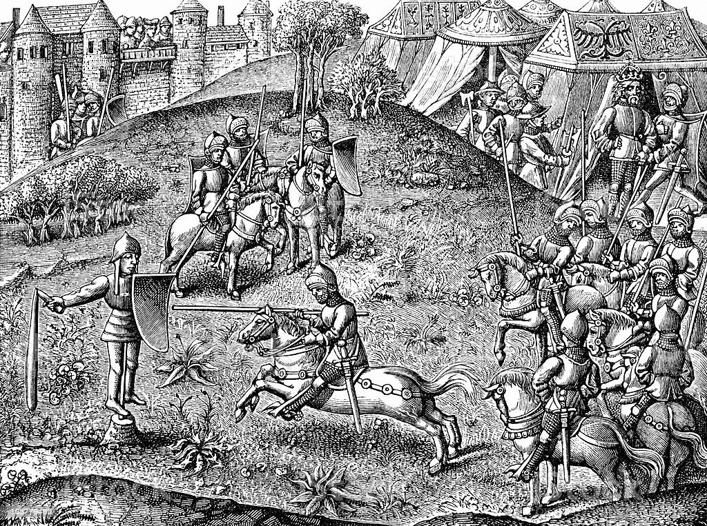Medieval Game of Quintain circa 15th Century vector art illustration