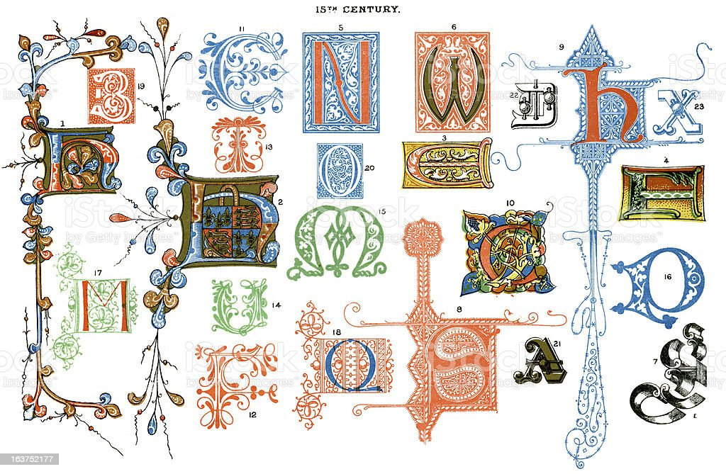 Medieval Illuminated Letters vector art illustration