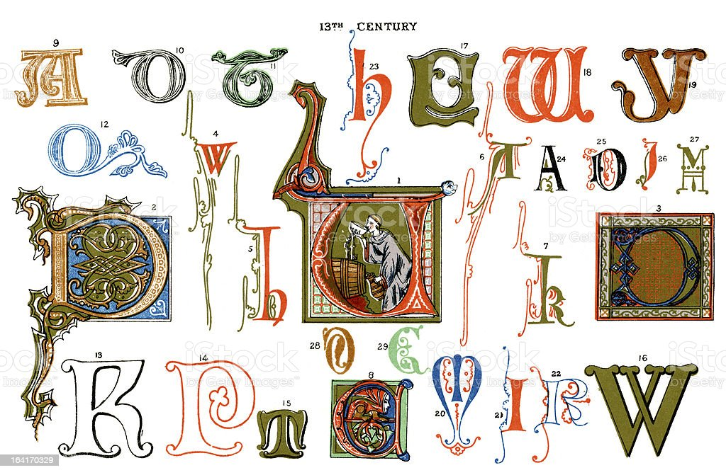 Medieval Illuminated Letters royalty-free stock vector art