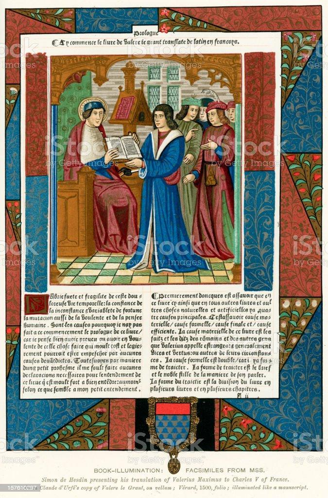 Medieval Illumination Charles V of France royalty-free stock vector art