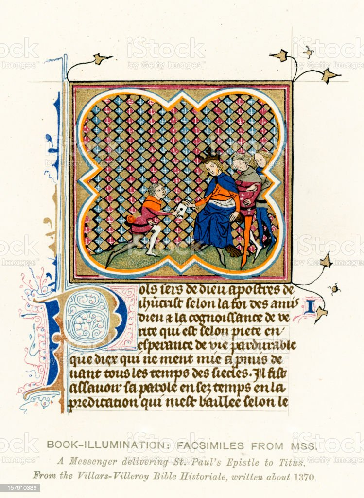 Medieval Illumination St Paul's Epistle royalty-free stock vector art