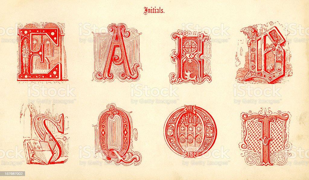 Medieval initials vector art illustration