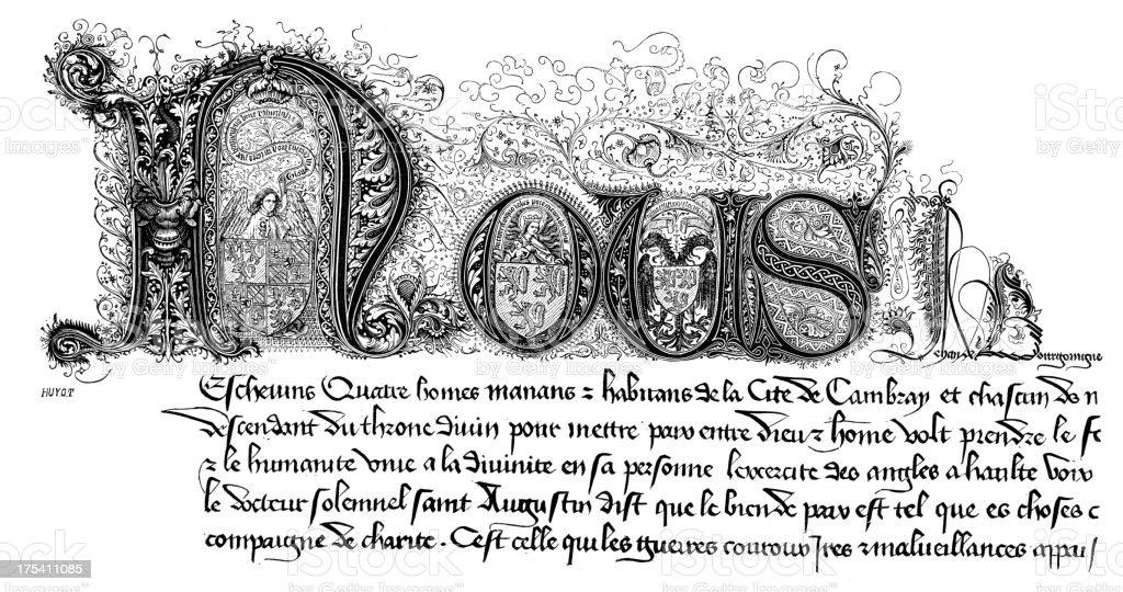 Medieval Manuscript royalty-free stock vector art