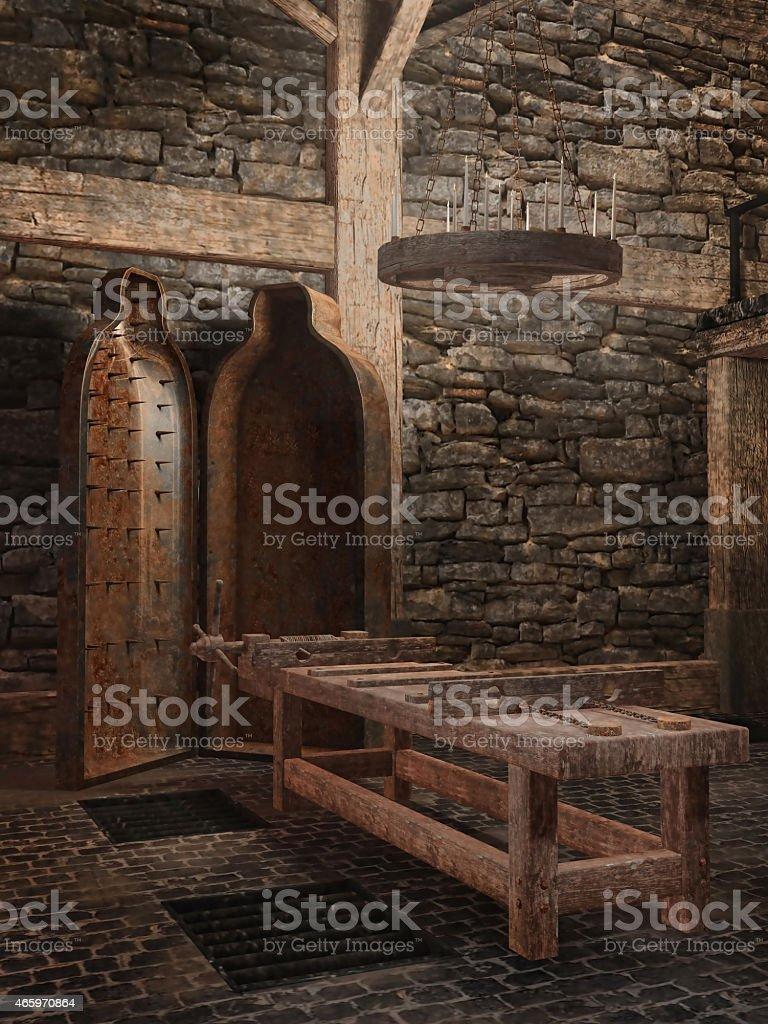 Medieval torture chamber vector art illustration