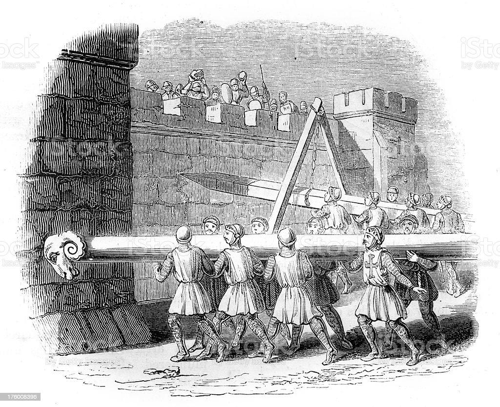 Medieval warfare - Battering Ram royalty-free stock vector art