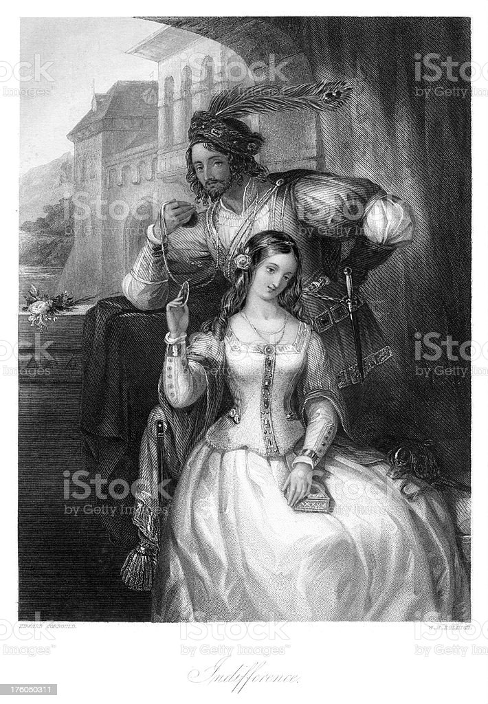 Medieval Young Couple Indifference vector art illustration
