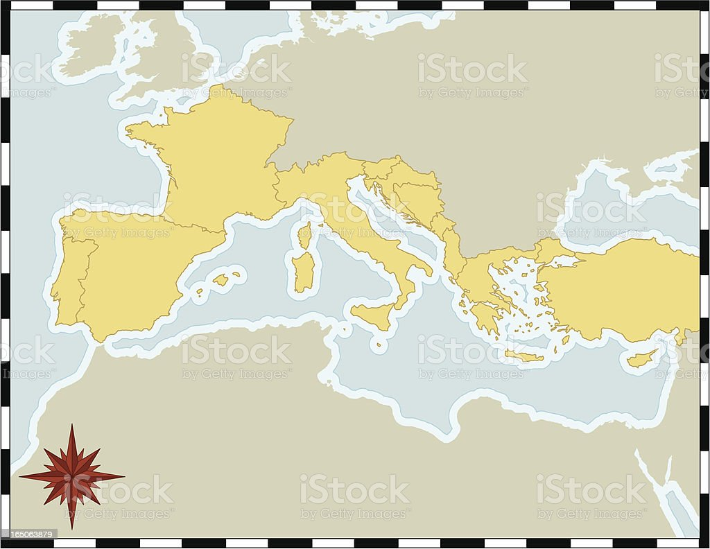 Mediterranean Europe vector art illustration