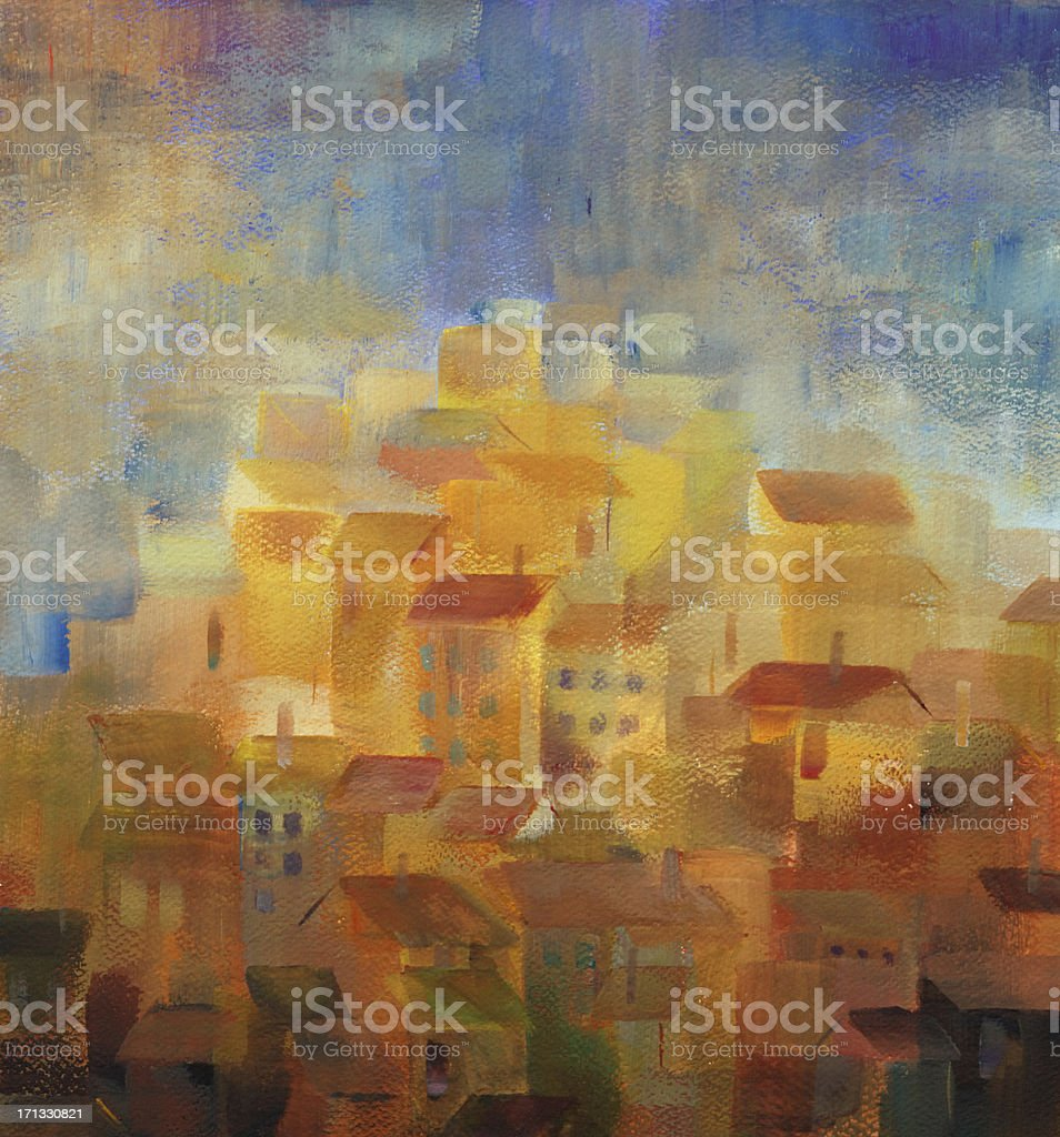 mediterranean town at sunset vector art illustration