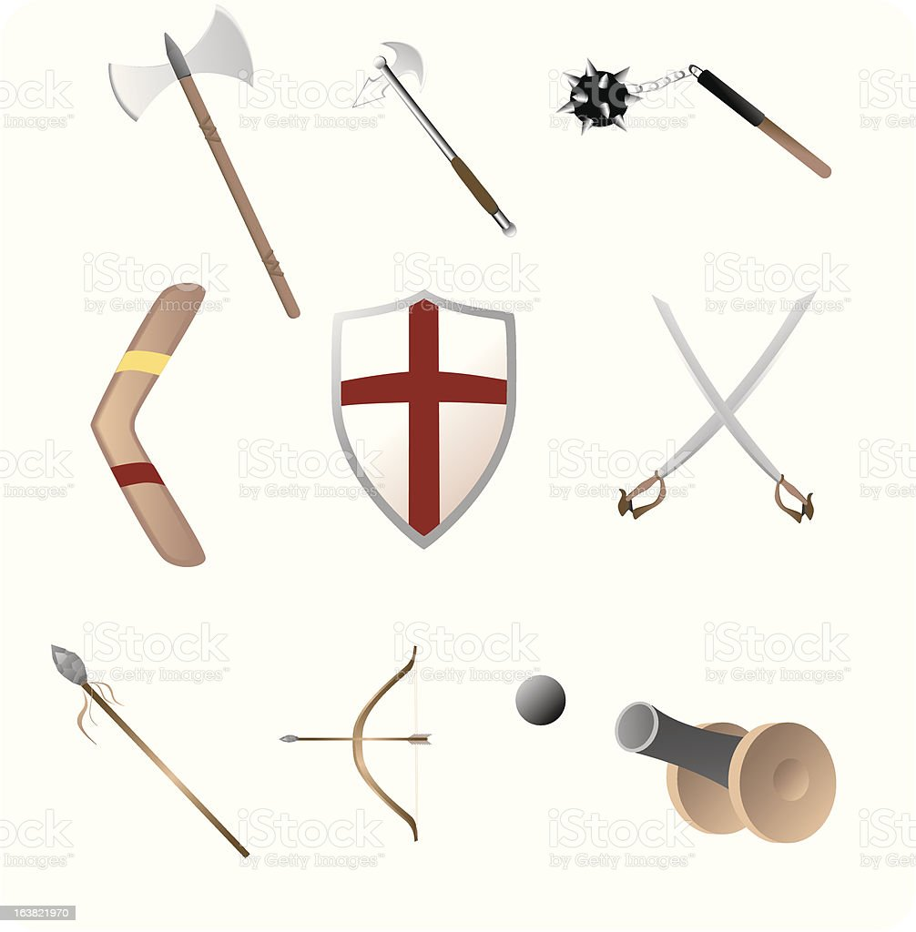 Medival and primitave weapons royalty-free stock vector art