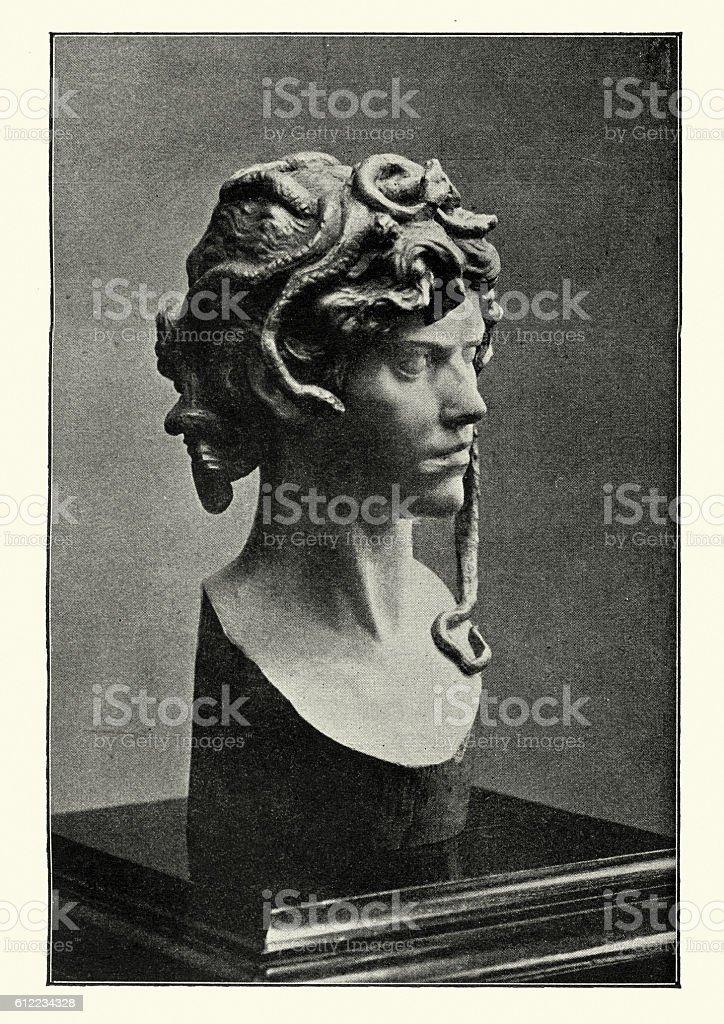 Medusa Chryselephantine sculpture by Vincotte vector art illustration