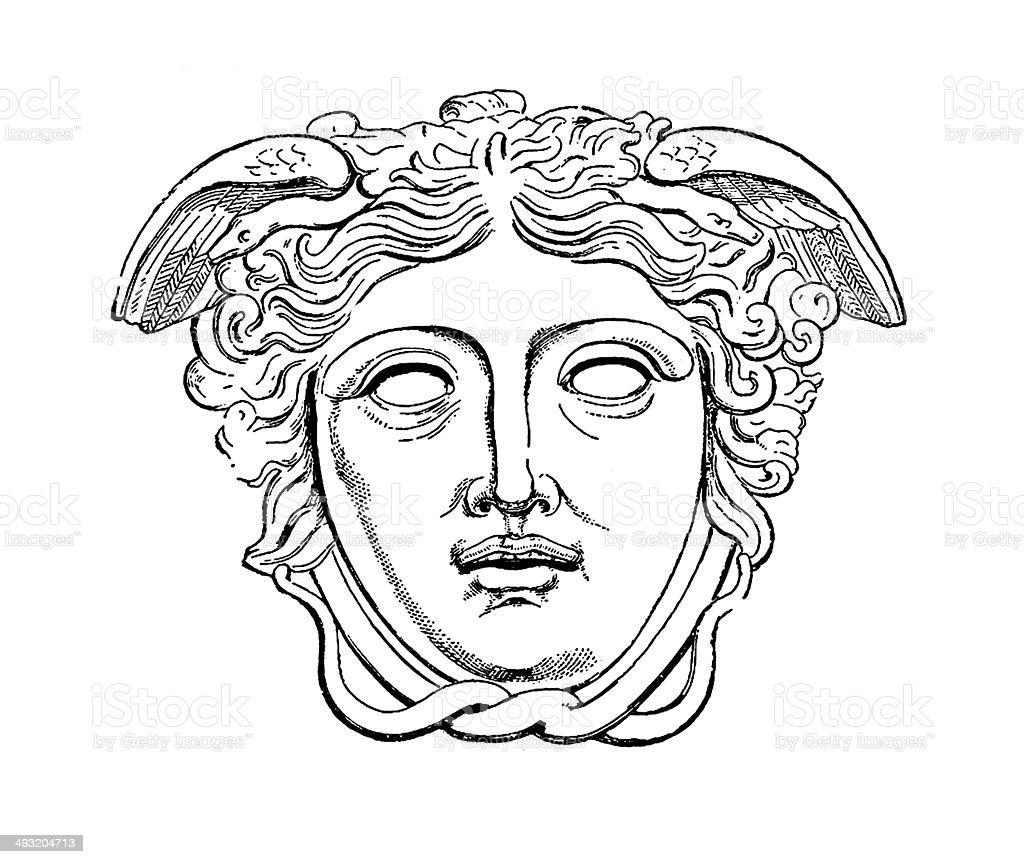 Medusa Rondanini (antique engraving) vector art illustration