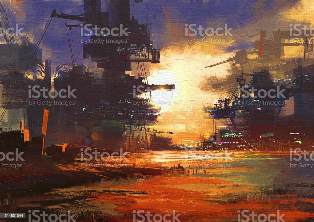 mega structure in sci-fi city at sunset vector art illustration
