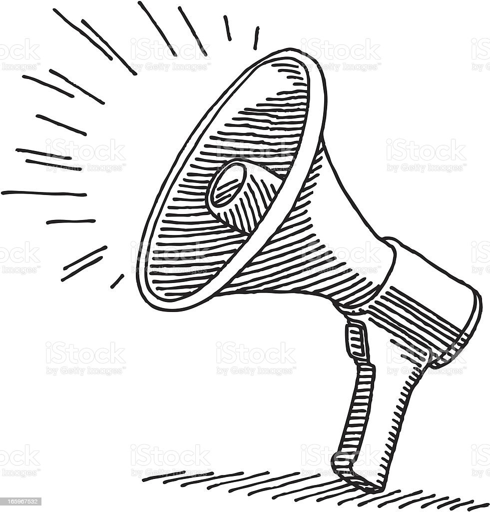 Megaphone Drawing royalty-free stock vector art