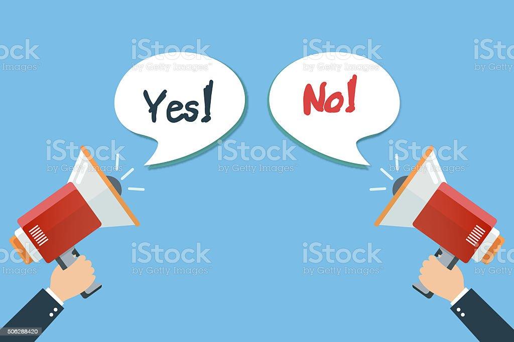 megaphone yes and no argument vector art illustration